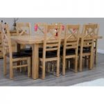 Deluxe 180cm Dual Extending Solid Oak Dining Table with Ladderback Chairs