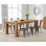 Madrid 200cm Oak Extending Dining Table with Tolix Industrial Style Dining Chairs