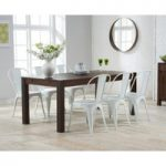 Verona 180cm Dark Solid Oak Extending Dining Table with Tolix Industrial Style Dining Chairs