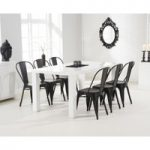 Atlanta 180cm White High Gloss Dining Table with Tolix Industrial Style Dining Chairs