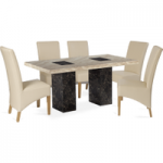 Brittoli 160cm Marble-Effect Dining Table with Cannes Chairs
