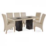 Brittoli 180cm Marble-Effect Dining Table with Cannes Chairs
