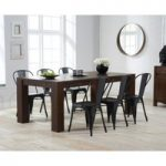 Madrid 200cm Dark Oak Dining Table with Tolix Industrial Style Dining Chairs