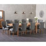 Verona 150cm Extending Solid Oak Dining Table with Camille Grey Faux Leather Chairs