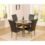 Oxford 90cm Solid Oak Drop Leaf Extending Dining Table with Albany Black Chairs