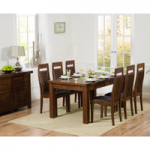 Normandy 180cm Dark Solid Oak Extending Dining Table with Monaco Chairs