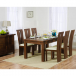 Normandy 180cm Dark Solid Oak Extending Dining Table with Montreal Chairs