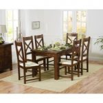 Normandy 150cm Dark Solid Oak Extending Dining Table with Cheshire Chairs