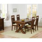 Bordeaux 160cm Dark Solid Oak Extending Dining Table with Monaco Chairs