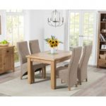 Yateley 130cm Oak Extending Dining Table with Henley Fabric Dining Chairs