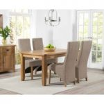 Yateley 140cm Oak Dining Table with Henley Fabric Chairs