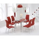 Ritz Red Extending Glass Dining Table with Calgary Chairs