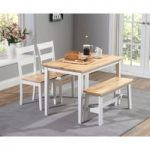 Chiltern 115cm Oak and White Dining Set with Bench and Chairs