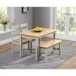 Chiltern 115cm Oak and Grey Dining Set with Chairs and Bench