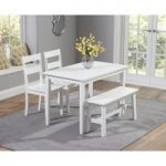 Chiltern 115cm White Dining Set with Bench and Chairs