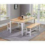 Chiltern 150cm Oak and White Dining Table Set with Benches