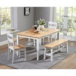 Chiltern 150cm Oak and White Dining Table Set with Benches and Chairs
