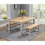 Chiltern 150cm Oak and Grey Dining Table Set with Benches