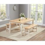 Chiltern 150cm Oak and Cream Dining Set with Benches