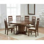 Torino 150cm Dark Solid Oak Round Pedestal Dining Table with Monaco Chairs