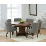 Torino 150cm Dark Solid Oak Round Pedestal Dining Table with Knightsbridge Fabric Dark Oak Leg Chairs