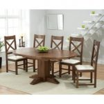 Torino Dark Solid Oak Extending Pedestal Dining Table with Cheshire Chairs