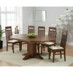 Torino Dark Solid Oak Extending Pedestal Dining Table with Monaco Chairs