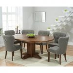 Torino Dark Solid Oak Extending Pedestal Dining Table with Knightsbridge Fabric Dark Oak Leg Chairs