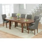 Chelsea Dark Oak Extending Dining Table with Pacific Fabric Dark Oak Leg Chairs