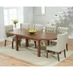 Chelsea Dark Oak Extending Dining Table with Safia Fabric Dark Oak Leg Chairs