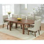Chelsea Dark Oak Extending Dining Table with Safia Fabric Dark Oak Leg Chairs