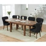 Chelsea Dark Oak Extending Dining Table with Knightsbridge Fabric Dark Oak Leg Chairs