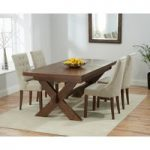 Bordeaux 160cm Dark Solid Oak Extending Dining Table with Anais Fabric Dark Oak Leg Chairs