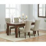 Normandy 150cm Dark Solid Oak Extending Dining Table with Anais Fabric Dark Oak Leg Chairs