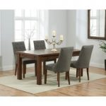 Normandy 150cm Dark Solid Oak Extending Dining Table with Pacific Fabric Dark Oak Leg Chairs
