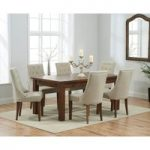 Normandy 180cm Dark Solid Oak Extending Dining Table with Pacific Fabric Dark Oak Leg Chairs