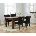 Normandy 150cm Dark Solid Oak Extending Dining Table with Knightsbridge Fabric Dark Oak Leg Chairs