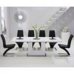 Tula 160cm White High Gloss Extending Dining Table with Hampstead Z Chairs
