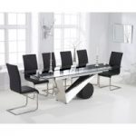 Pretoria 170cm Extending Black Glass Dining Table with Malaga Chairs