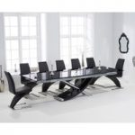 Hilton 210cm Extending Black Glass Dining Table with Hampstead Z Chairs