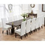 Ex-display Somerset 180cm Dark Oak Extending Dining Table with FOUR WHITE Dakota Chairs