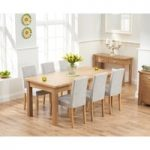 Somerset 180cm Oak Extending Dining Table with Mia Fabric Chairs