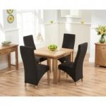 Somerset 90cm Flip Top Oak Dining Table with Henley Fabric Chairs