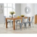 Ex-display Verona 180cm Solid Oak Extending Dining Table with SIX GREY Tolix Industrial Style Dining Chairs