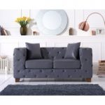 Harper Chesterfield Grey Leather Two-Seater Sofa