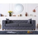 Harper Chesterfield Grey Leather Three-Seater Sofa