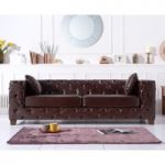 Harper Chesterfield Brown Leather Three-Seater Sofa