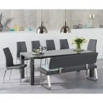 Atlanta 180cm Dark Grey High Gloss Dining Table with Cavello Chairs and Malaga Grey Bench