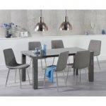 Atlanta 160cm Dark Grey High Gloss Dining Table with Helsinki Fabric Chairs