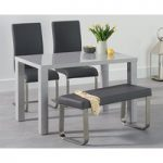 Atlanta 120cm Light Grey High Gloss Dining Table with Malaga Chairs and Atlanta Grey Bench
